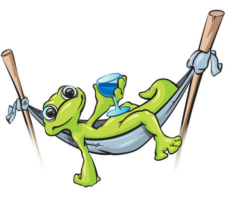 A vector illustration of a gecko relaxing in a hammock holding a cold drink. Vector