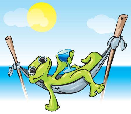 sauri: Una illustrazione vettoriale di un geco in un hammock con una bevanda fredda - una scena tropicale buona per il turismo e vacanza.