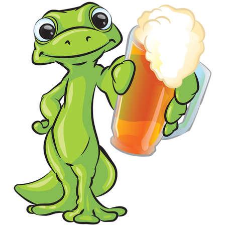 Een vector illustratie van een gekko met een pint bier aan u of uw klant.
