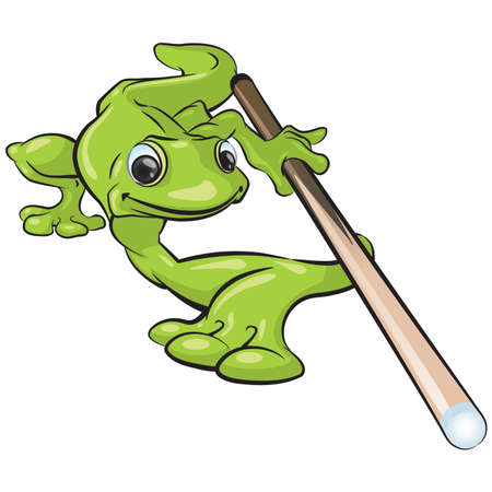 A vector illustration of a gecko character playing pool. Can be pointing at anything in your design. Illustration