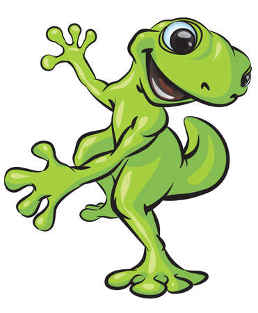 A vector illustration of a gecko posing in a fun manner.
