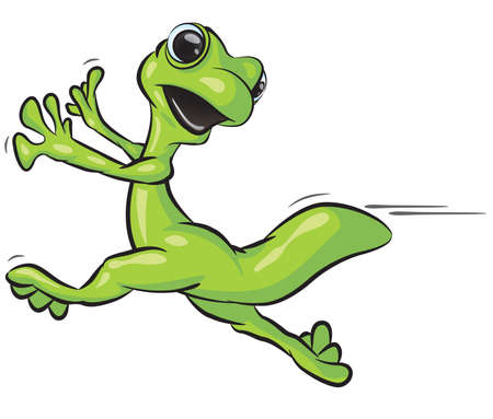 A vector illustration of a gecko running from something. Vector