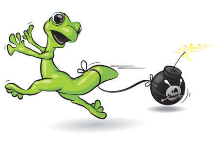 menace: A vector illustration of a gecko running from a lit bomb attached to his tail. Illustration