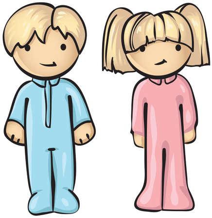 A vector illustration of two cute children in their pajamas. Stock Vector - 2935586