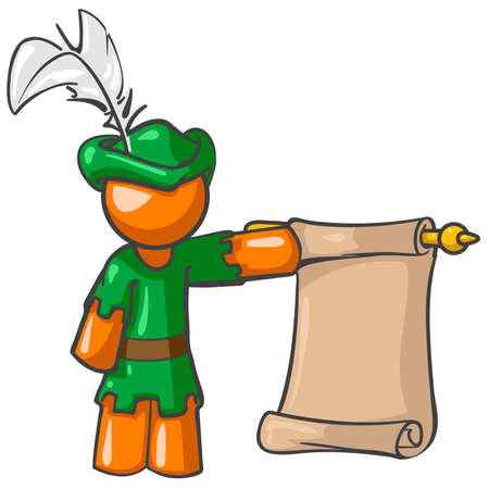 robin hood: A vector illustration of an orange man dressed as a pageboy holding a scroll.