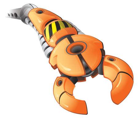 robot: Ilustracja wektora ramienia zautomatyzowanej osiągając się gotowy do chwyć ktoś.  Utworzone jako część