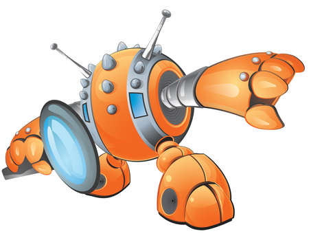 A vector illustration of an orange robot peering through a magnifying glass inspecting someone or something or some idea.  Created as part of a Stock Vector - 2935592