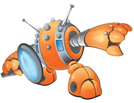 utworzonych: A wektor ilustracją pomarańczowo robot Peering przez lupę inspekcji kogoś lub czegoś lub pomysł. Utworzony w ramach Ilustracja