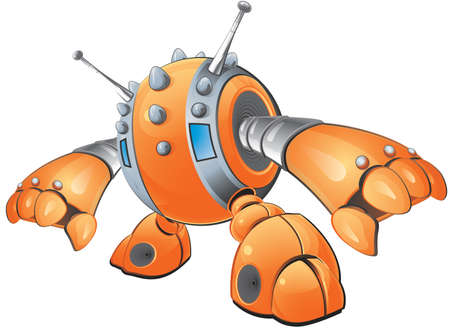 grab: A vector illustration of an orange robot with spikes on his head reaching down to grab something.  Created as part of a  Illustration