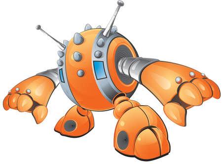 spikes: Una ilustraci�n vectorial de un robot de color naranja con clavos en la cabeza hacia abajo para llegar a coger algo. Creado como parte de un