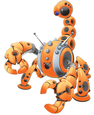 A vector illustration of a large orange scorpion robot in an attack pose. Made to represent spyware. Created as part of a  Vector