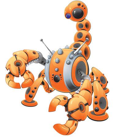 spyware: Una ilustraci�n vectorial de un gran escorpi�n robot de naranja en un ataque plantean. Fabricado a representar el spyware. Creado como parte de un  Vectores