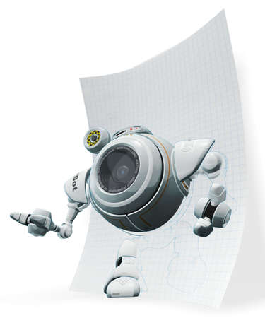 web cam: A 3d robot web cam emerging from graph paper. The labels and markings on him are all fictional and made up.  Stock Photo