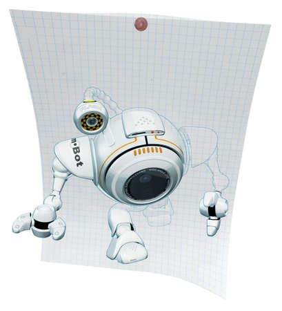 A 3d robot web cam emerging from graph paper viewed from a top angle. The labels and markings on him are all fictional and made up.  photo