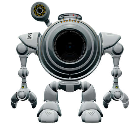 web cam: A 3d robot web cam looking straight and standing straight. The labels and markings on him are all fictional and made up.  Stock Photo