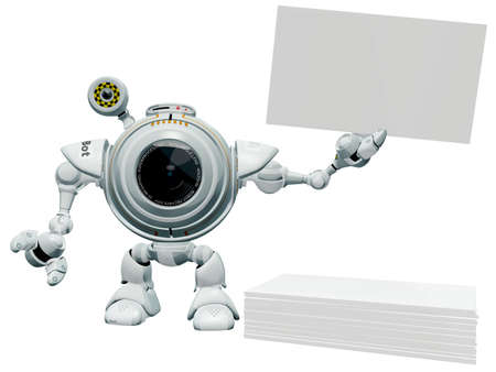 web cam: A 3d robot web cam holding up a blank business card with a pile of business cards below him. The labels and markings on him are all fictional and made up.