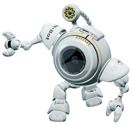 A robot web cam looking p at something in a cute manner. All markings and labels on this model are fictional and made up.