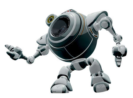 A 3d robot web cam looking up. The labels and markings on him are all fictional and made up.