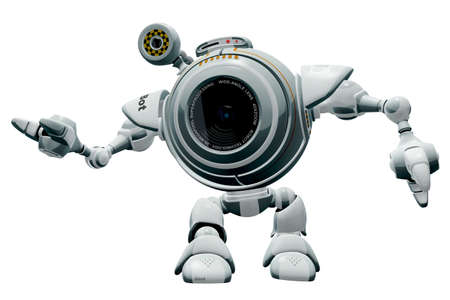 nicely: A 3d robot web cam web cam gesturing nicely. The labels and markings on him are all fictional and made up.