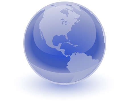 the americas: A glossy blue sphere with an etching of the Americas on it. Great professional icon representing the earth. Illustration