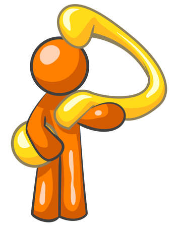 inquiry: An orange man holding a large gold question mark.