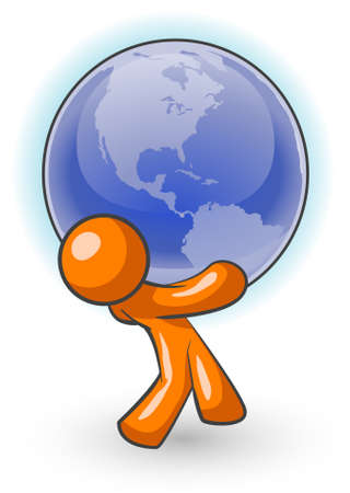 taşımak: An orange man carrying a large globe, holding the weight of the world! Çizim