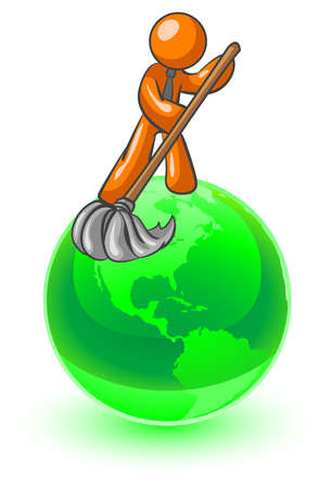 An orange man on top of the earth cleaning it up.  Çizim