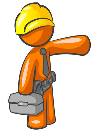 An orange man construction worker presenting something.  Stock Vector - 3089726