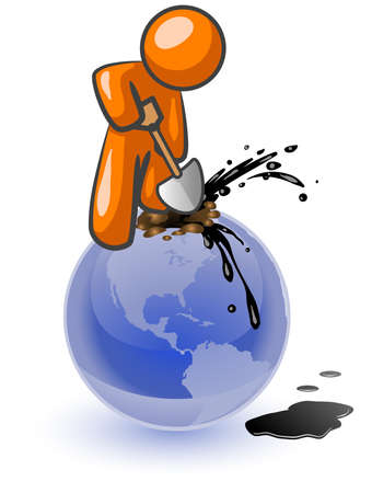 environmental disaster: An orange man aggressively digging for oil on top of the globe. See the aweful mess of the earth he is making!