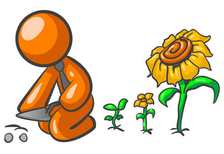 An orange man planting seeds, which are coming up behind him very fast as full grown flowers!