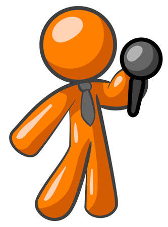 conference speaker: An orange man holding a microphone giving a speech or presentation.  Illustration