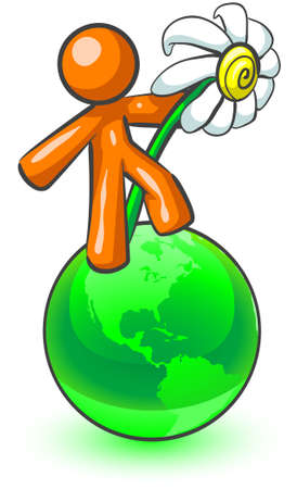 An orange man holding a large daisy while standing on top of a green earth.  Vector