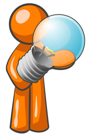 An orange man holding a light bulb. Its quite large compared to him, but he obviously wants to state he has a good idea.  Illustration