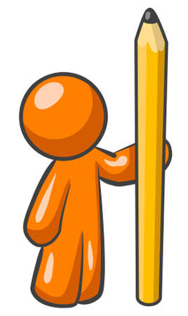 An orange man holding a large pencil.