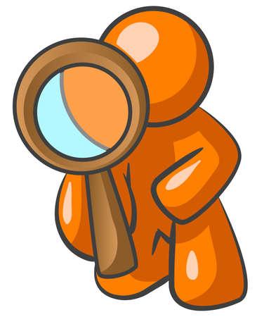 Un uomo di colore arancione guardando attraverso una grande lente di ingrandimento verso lo spettatore.  Archivio Fotografico - 3089707