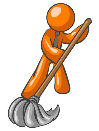 mop floor: An orange man holding a mop and cleaning the floor.