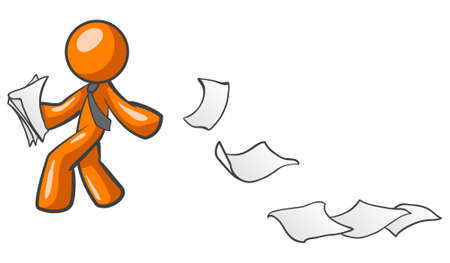 An orange man processing papers and leaving a trail. Concept based on the phrase