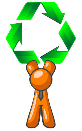 An orange man holding up a large recycling symbol. Good concept for environmental subjects.  Illustration
