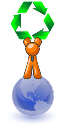 recycle symbol vector: An orange man standing on top of the earth holding a large recycling symbol. Good concept for environmental earth preservation.