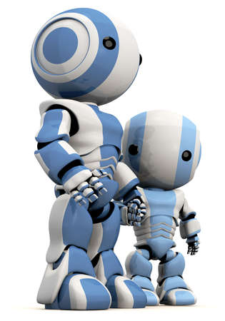 so: A cute 3d Robot father and son. Great concept for bonding, effection, care taking, and so forth.
