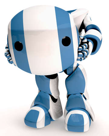 A cute 3d robot holding his head in front of himself, which apparently must have fallen off. Stock Photo - 3089702
