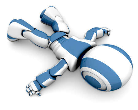 cybernetics: A cute 3d robot lying down wasted, as if his energy supply ran out.  Stock Photo