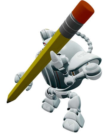 extreme angle: A robot Web Cam holding a pencil shown from an extreme angle.