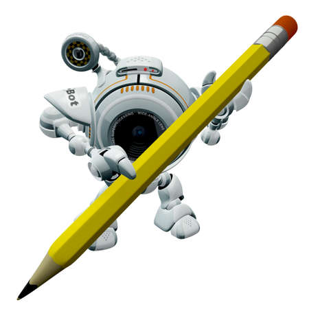 inviting: A robot web cam holding a yellow pencil perhaps ready to write something.