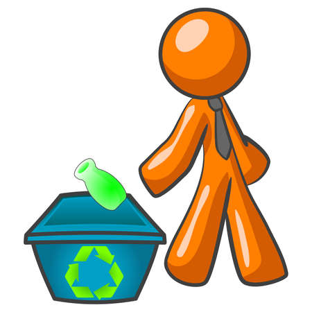 An orange man throwing a green bottle into a recycling bin.