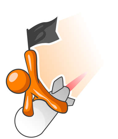 insanity: Un hombre de naranja montar un misil en posesi�n de un pabell�n negro. Es evidente que la paz no es su intenci�n.