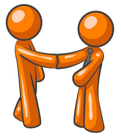 teamwork cartoon: Two orange men shaking hands, closing a deal, and involved in direct marketing no doubt. Or perhaps they are just friends!
