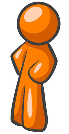 An orange man standing up sideways in a typically ordinary fashion.  Illustration