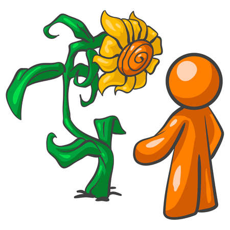 can't: An orange man talking to a large sunflower. Sunflowers cant talk, but in illustrations everyone can talk!