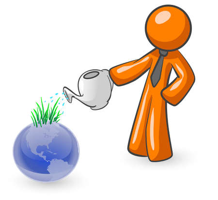 An orange man watering the earth with grass sprouting out of it as a result.
